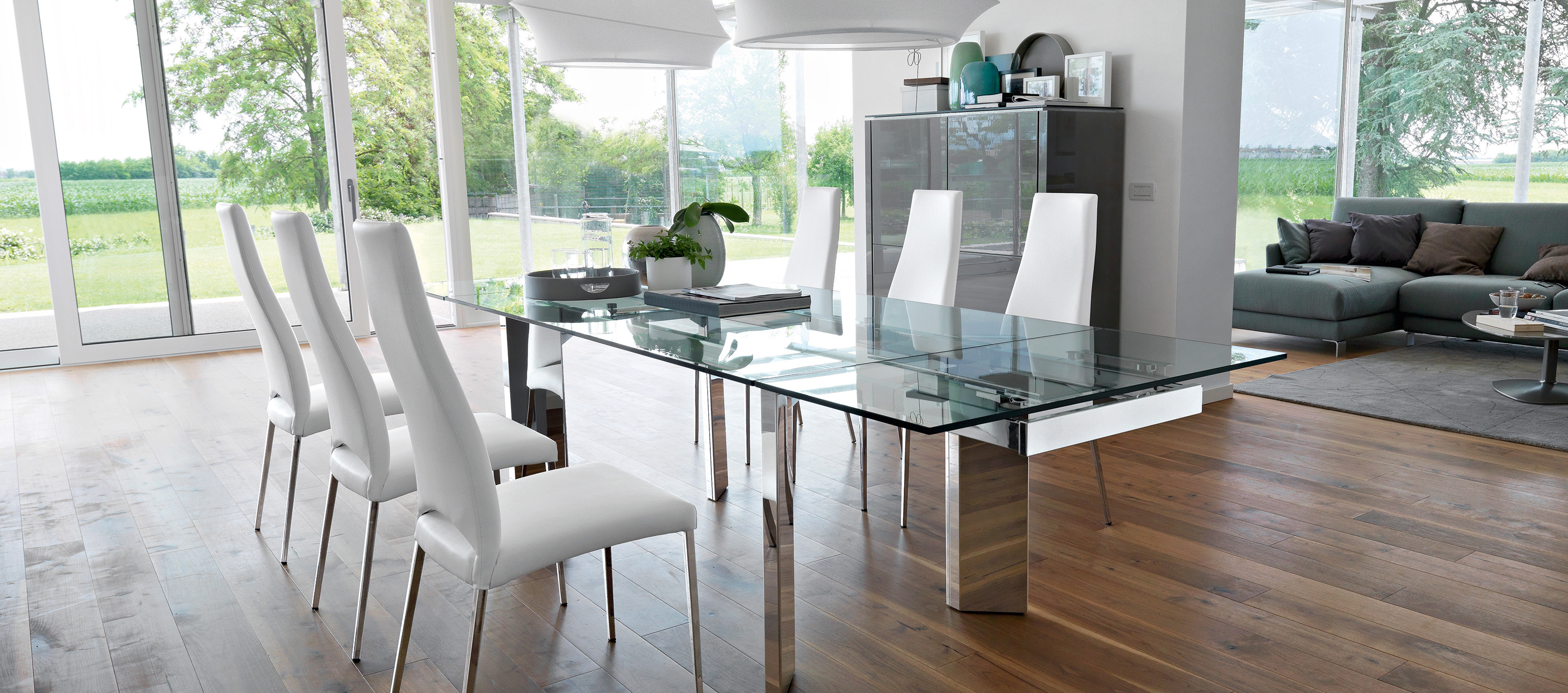 Calligaris tower modern extendable glass dining table for Soggiorno pranzo arredamento