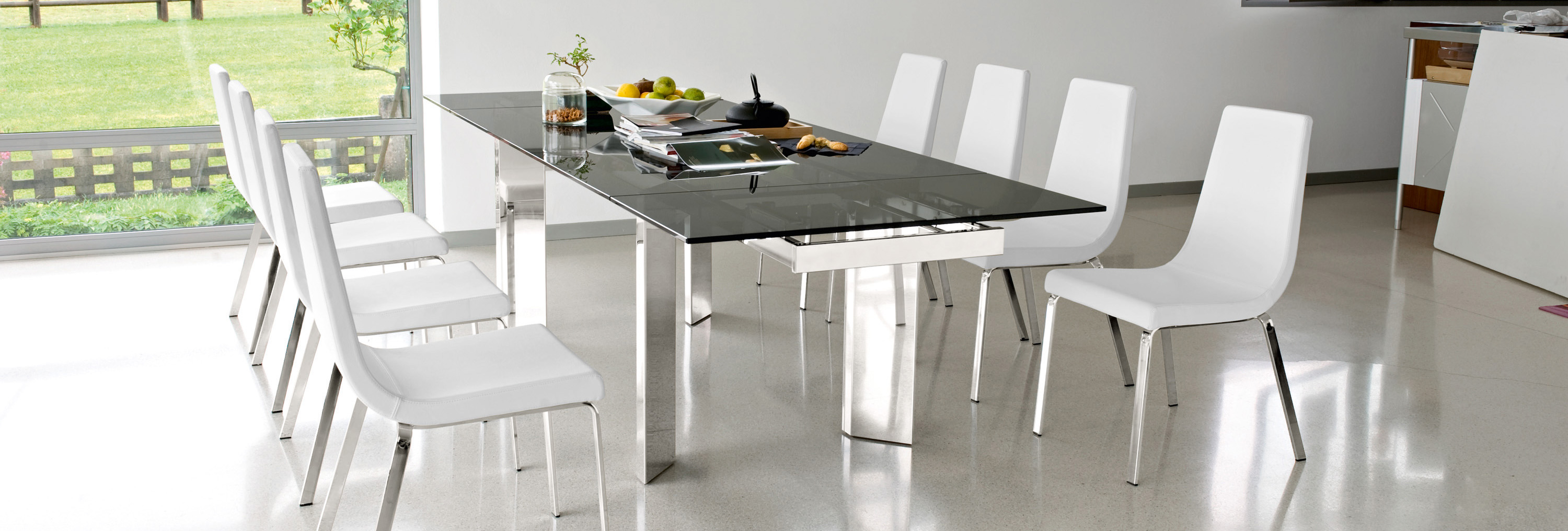 Calligaris Tower Modern Extendable Glass Dining Table  : cs4057 rgtgcs1095 lh700 from calligaristoronto.ca size 3000 x 1016 jpeg 591kB