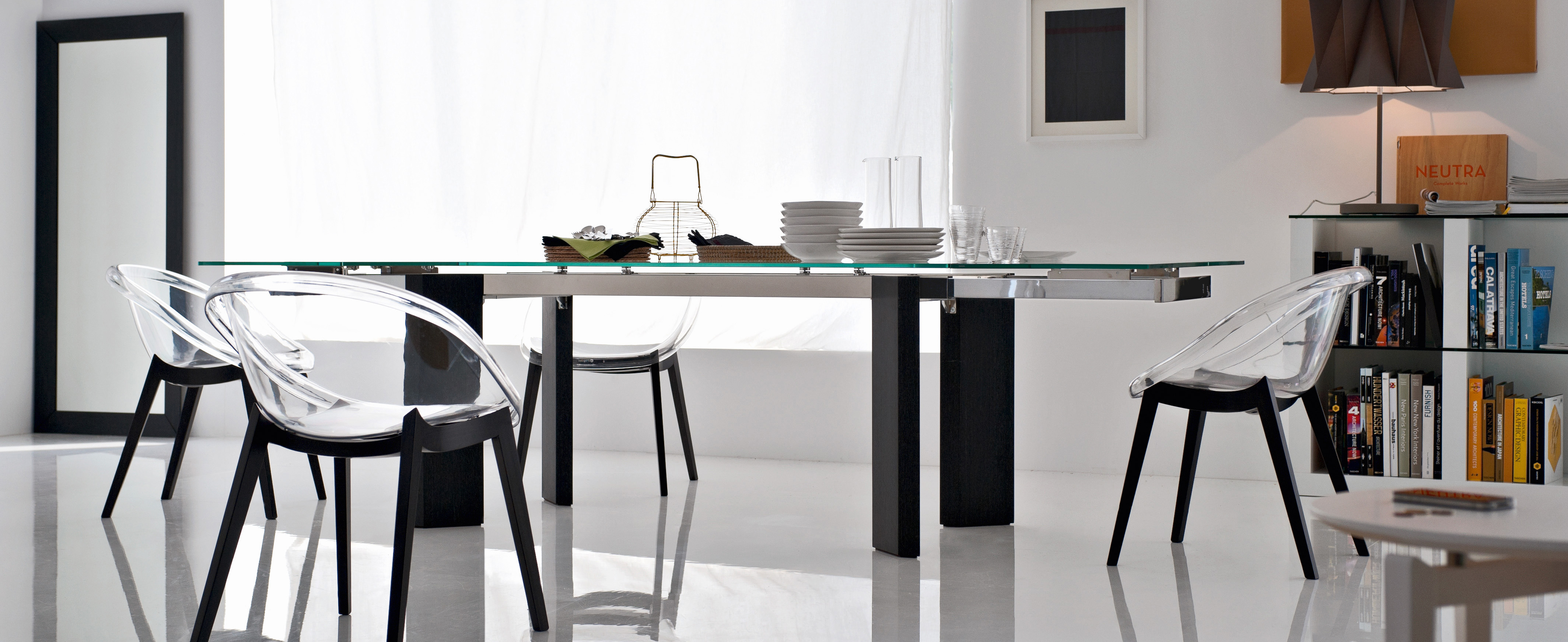 Calligaris Tower Modern Extendable Glass Dining Table  : cs4057 rlp173cs1389 1 from calligaristoronto.ca size 4256 x 1742 jpeg 1399kB