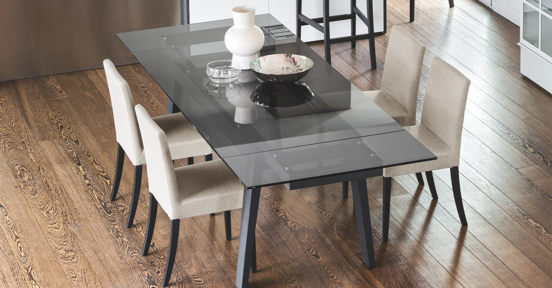 Calligaris Maestro Contemporary Wood & Glass Extendable Table  Calligaris Toronto Store