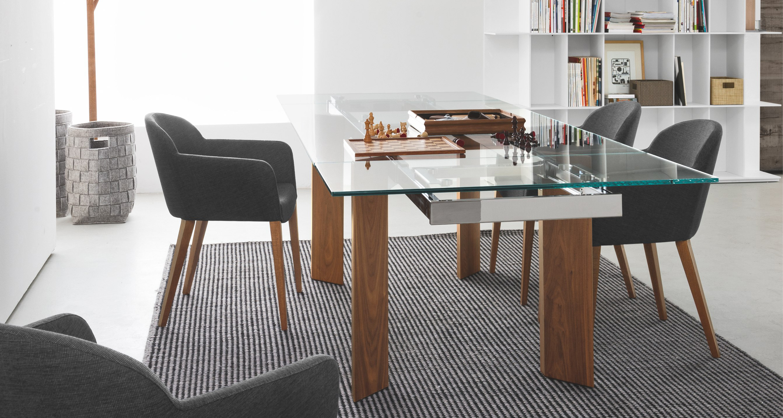 Calligaris Tower Modern Extendable Glass Dining Table  : towercs4057 rlgtrcs1110c24 from calligaristoronto.ca size 2685 x 1434 jpeg 2004kB