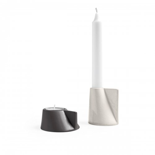 LINO Candle holder ceramic GLOSSY HEMP/MATT SMOKE GREY