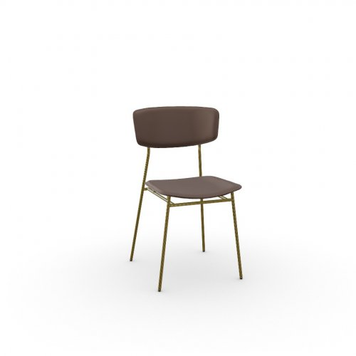 FIFTIES Frame P175 met. POLISHED BRASS  Seat S0G Venice SOIL BROWN
