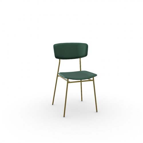 FIFTIES Frame P175 met. POLISHED BRASS  Seat S0H Venice FOREST GREEN