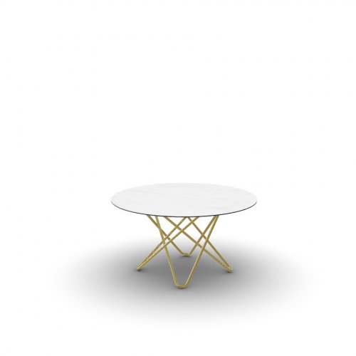 STELLAR Top P2C ceramic (g) WHITE MARBLE  Frame P175 met. POLISHED BRASS  Legs P175 met. POLISHED BRASS
