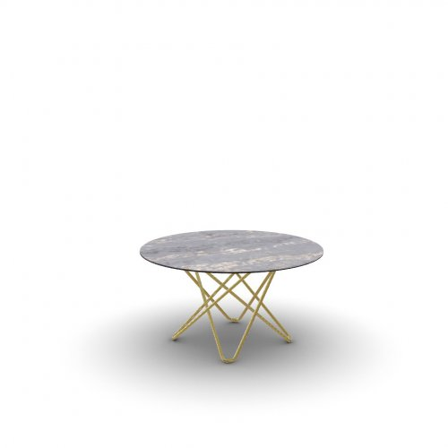 STELLAR Top P3C ceramic (g) BLACK MARBLE  Frame P175 met. POLISHED BRASS  Legs P175 met. POLISHED BRASS