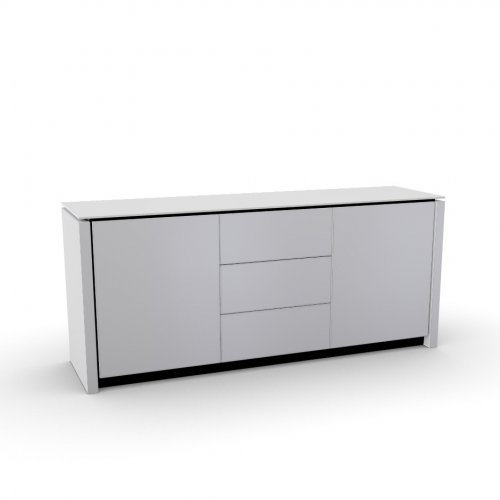 MAG Frame P278 mel. BLACK  Doors P64 lacq. GLOSSY WHITE  Top GEW temp.glass FROSTED EXTRACLEAR