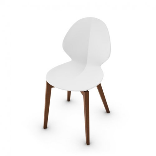 CS1348 BASIL W Frame P201 bch. WALNUT Seat P94 pp MATT OPTIC WHITE