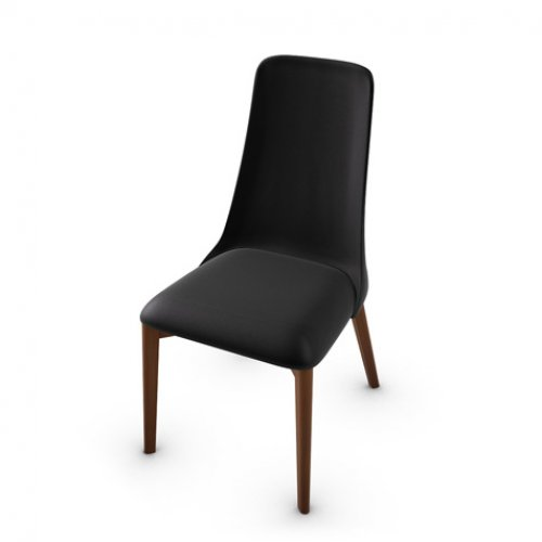 CS1423-LH ETOILE Frame P201 bch. WALNUT Seat 683 soft leather BLACK