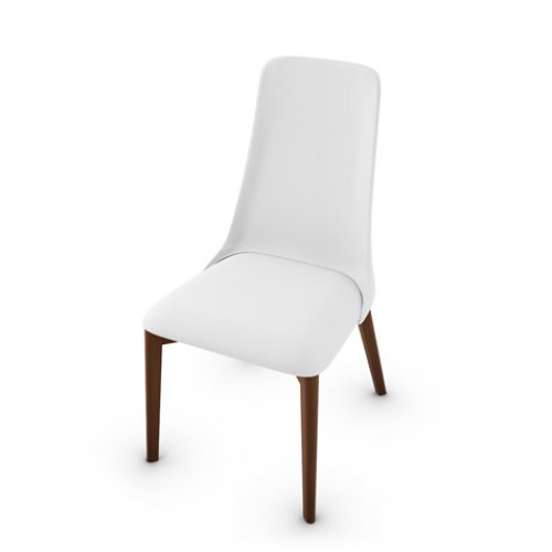 CS1423-LH ETOILE Frame P201 bch. WALNUT Seat 705 soft leather OPTIC WHITE