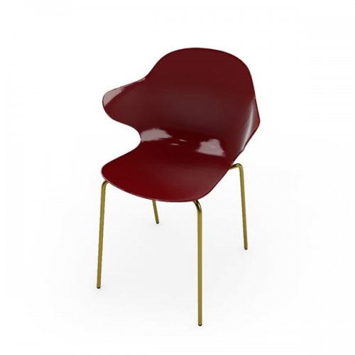 CS1845 SAINT TROPEZ Frame P175 met. POLISHED BRASS Seat P21P polycarbon GLOSSY OXIDE RED