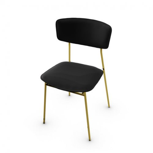 CS1854-LH FIFTIES Frame P175 met. POLISHED BRASS Seat 399 leather BLACK