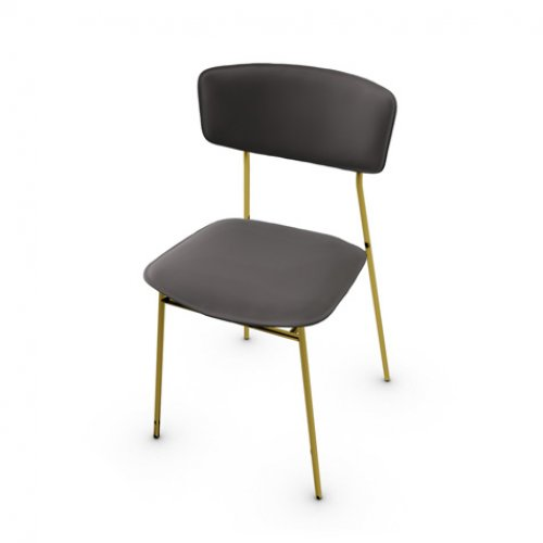 CS1854-LH FIFTIES Frame P175 met. POLISHED BRASS Seat L06 leather MUD BROWN