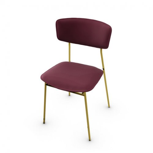 CS1854-LH FIFTIES Frame P175 met. POLISHED BRASS Seat L07 leather BURGUNDY