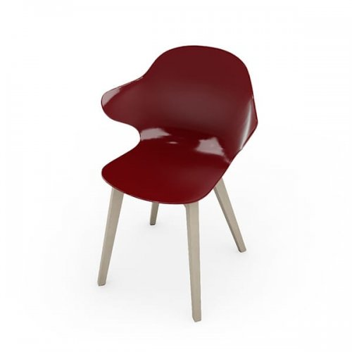CS1855 SAINT TROPEZ W Frame P02 bch. BLEACHED BEECH Seat P21P polycarbon GLOSSY OXIDE RED