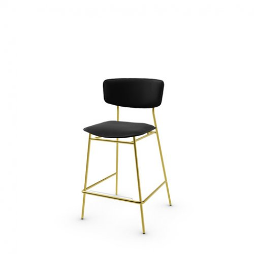 CS1864-LH FIFTIES Frame P175 met. POLISHED BRASS Seat 399 leather BLACK