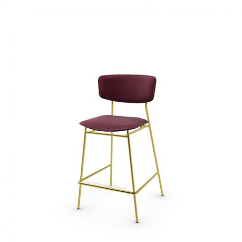 CS1864-LH FIFTIES Frame P175 met. POLISHED BRASS Seat L07 leather BURGUNDY