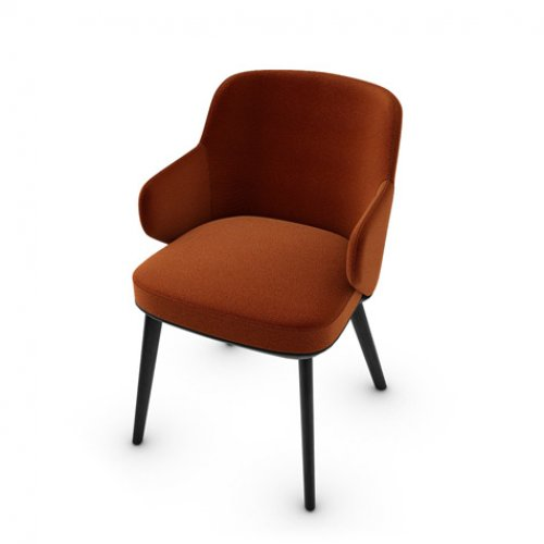CS1889 FOYER Frame P15L ash. MATT BLACK Seat S2Q Bergen BRICK RED
