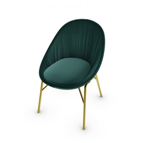 CS2003 LILLY Frame P175 met. POLISHED BRASS Seat S0H Venice FOREST GREEN