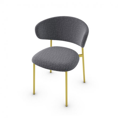 CS2031 OLEANDRO Frame P175 met. POLISHED BRASS Seat SLW Bouclé ANTHRACITE GREY