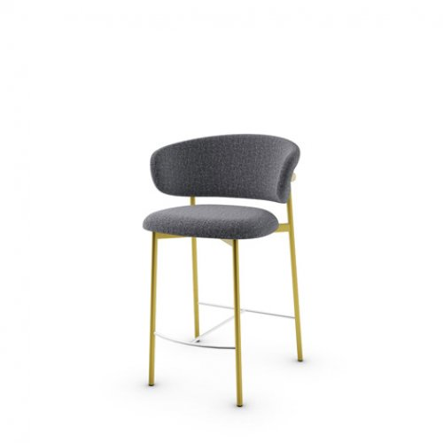CS2032 OLEANDRO Frame P175 met. POLISHED BRASS Seat SLW Bouclé ANTHRACITE GREY