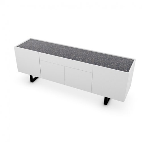 CS6017-1A HORIZON Frame P94 lacq. MATT OPTIC WHITE Top P15C ceramic TERRAZZO Base P15 met. MATT BLACK
