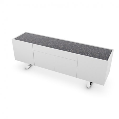 CS6017-1A HORIZON Frame P94 lacq. MATT OPTIC WHITE Top P15C ceramic TERRAZZO Base P77 met. CHROMED
