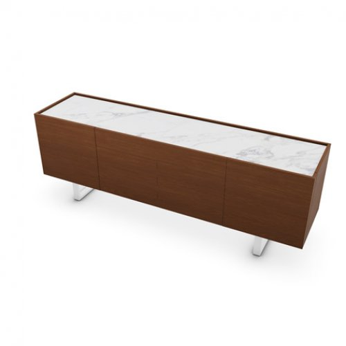CS6017-1A HORIZON Frame P201 wlnt ven. WALNUT Top P2C ceramic WHITE MARBLE Base P94 met. MATT OPTIC WHITE