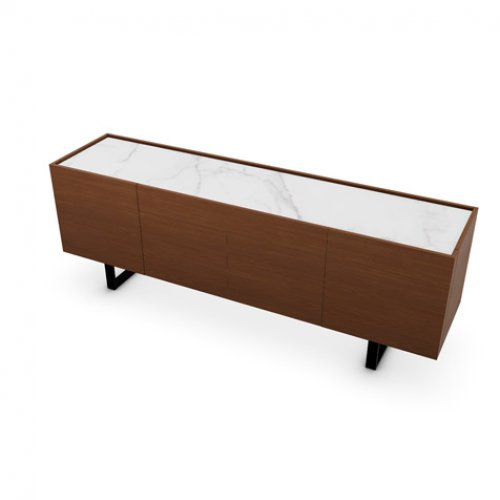 CS6017-1A HORIZON Frame P201 wlnt ven. WALNUT Top P9C ceramic SILK WHITE MARBLE Base P15 met. MATT BLACK
