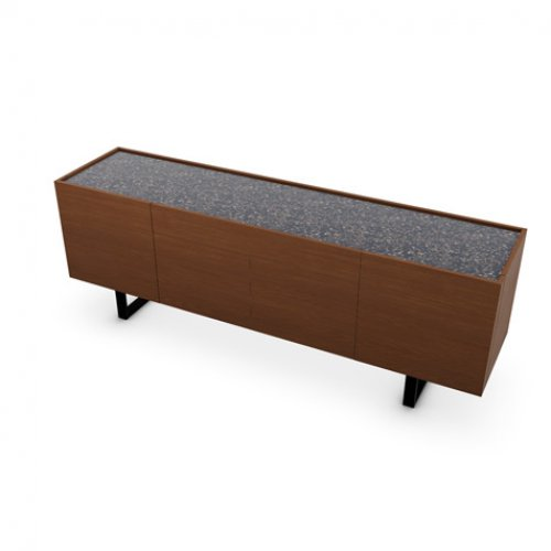CS6017-1A HORIZON Frame P201 wlnt ven. WALNUT Top P15C ceramic TERRAZZO Base P15 met. MATT BLACK