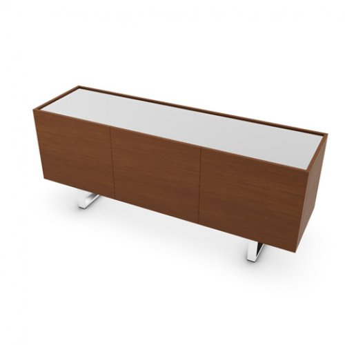 CS6017-4A HORIZON Frame P201 wlnt ven. WALNUT Top GEW temp.glass FROSTED EXTRACLEAR Base P77 met. CHROMED