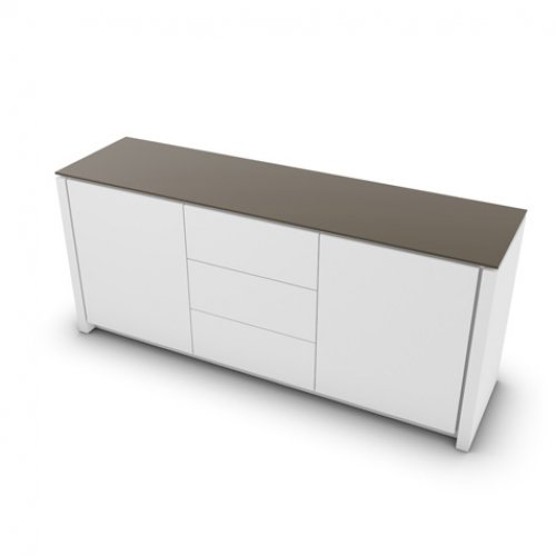 CS6029-10A MAG Internal frame P262 mel. WHITE Doors/drawers P94 lacq. MATT OPTIC WHITE Top GTA temp.glass FROSTED TAUPE