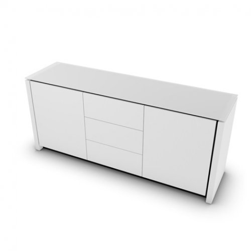 CS6029-10A MAG Internal frame P278 mel. BLACK Doors/drawers P94 lacq. MATT OPTIC WHITE Top GEW temp.glass FROSTED EXTRACLEAR