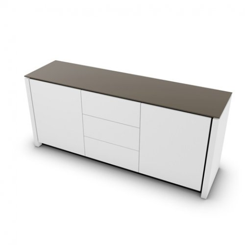CS6029-10A MAG Internal frame P278 mel. BLACK Doors/drawers P94 lacq. MATT OPTIC WHITE Top GTA temp.glass FROSTED TAUPE