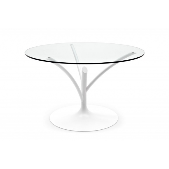 Calligaris Acacia 120 Pedestal Base Round Glass Dining