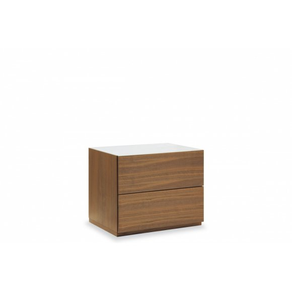 City (F): Modern 2 Drawer Wood and Glass Nightstand