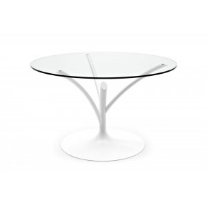 Acacia (120): Pedestal Base Round Glass Dining Table